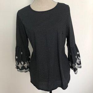 Rue Juju Black &White polka dot embroidery blouse